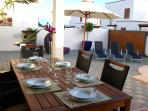 The terrace is perfect to sit and enjoy a meal outdoors