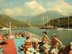 Boat trips depart from Oludeniz and Fethiye daily for sightseeing, swimming and sunbathing