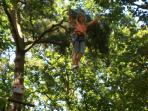 Swinging through the trees in Gorron, Swingball and canoeing also.