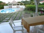 covered patio for relaxing with drinks by the pool