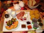 Full continental breakfast with homemade jam fresh croissants