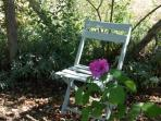 A quiet and relaxing spot in the rose alley.