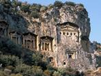Fantastic 4th century rock tombs. Illuminated at night and visible from most riverside restaurants.