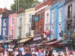 Portobello market (3 min walk)