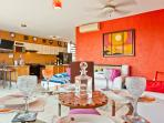 Dinning area nice cool colours and enjoy the romantic evening,full kitchen and a lot more,