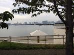 In front of our condominium, Tokyo bay.