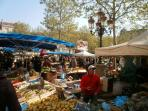 Fruit and vegetable market in Place Carnot - Carcassonne new town