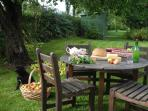 Enjoy afternoon tea under the apple trees..