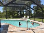 Heated swimming pool with full lanai, sun tracks over all day. Awesome for adults and kids.