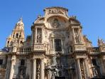 Murcia Cathedral and main plaza is a great place to enjoy churros and chocolate