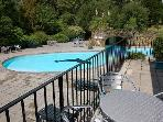 Outdoor pool from Waterfall Cottage balcony