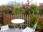 Balcony off bedroom with views of Penmachno hills and Gwydyr forest