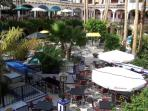 A picture taken from the upper floor of Villamartin plaza where there is 45 bars and resturants