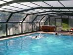 winter heated & covered swimming pool and hot tub