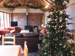 During December the barn is decorated for the festive period