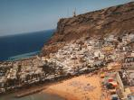 Aerial view of Mogan. The Captain's Apartment - just in the old village - minutes from port and