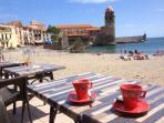 Coffee seaside in Collioure