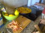 Making Paella in the kitchen