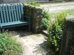 Bench outside Foxglove's front door