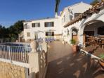 Full view of spacious upper terrace area with pool, Naya, all day sun, sea and mountain views