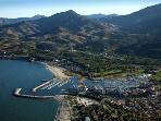 Vue aérienne du port d'Argeles, du Racou et du Sud de la plage des Pins