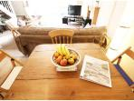 Sturdy wooden dining table for four.