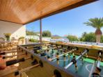 Terrace overlooking pool with table football - goal!