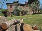 White Roses and Garden at Ancora del Chianti Eco - Friendly B&B in Tuscany