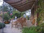 Terrace with pergola for relaxing holidays at Ancora del Chianti Eco - Friendly B&B in Tuscany