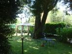 In the vast garden there are tables, chairs, grills and relaxing deckchairs.