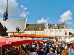 Market Day in Beaune, Hospices in background