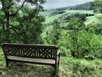 The garden has views of the surrounding rolling hills & the high Pyrenees.