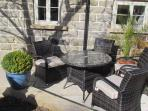 Sunny south facing  gardens with quality rattan funiture for relaxing and al fresco dining