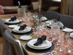 Fully equipped for group dining for up to 12 adults