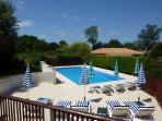 Large Sunny Terraced Pool with Sun Lounges, Umbrellas and Side Tables