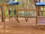 A five-minute stroll from the apartment is a well-equipped wooded play area for children to enjoy
