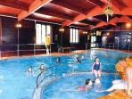 Indoor heated swimming pool with sauna.