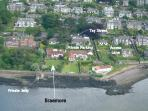 Aerial view showing waterfront location.