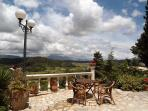 The terrace next to the Ruby Villa with the view to the Pantocrator Mountain and Ropa Valley.