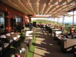 Clubhouse terrace area overlooking golf course