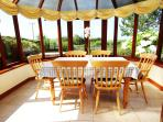 Enjoy your meals in the bright conservatory