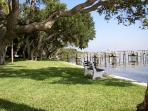 Private bayside garden and boating/fishing dock