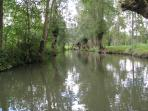 Hire a 'bateau' and punt along the duckweed covered  Waterways