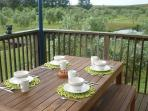 The perfect spot for breakfast, on your own private deck overlooking the pond.