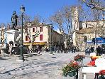 The main square of Aigues Mortes.