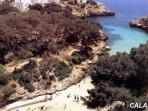 The beach at Cala Egos is within 5 minutes walk