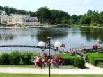 Elegant spa town of Bagnoles de L'Orne with its lake, casino and pavement cafes is 15 mins away