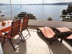 Relax on the huge terrace with dining area, coffee  area and two long chairs - ALENKA first floor