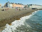 Aberystwyth North Beach, just outside the apartment, perfect for swims or paddling