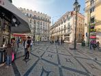 Camões Square with building's facade on the background